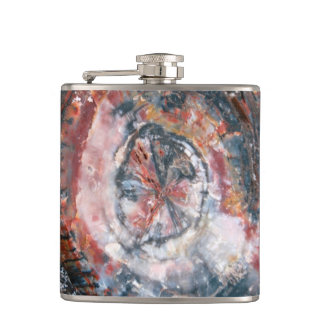 Colorful Petrified Wood photo Hip Flask