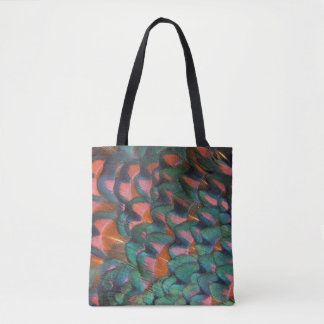 Colorful Pheasant Feathers Abstract Tote Bag