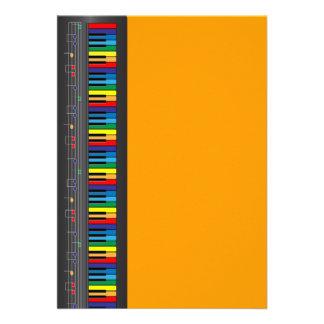 Colorful piano keyboard invite