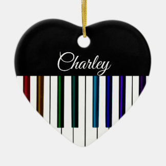 Colorful Piano Keyboard Music Holiday Heart Christmas Ornament