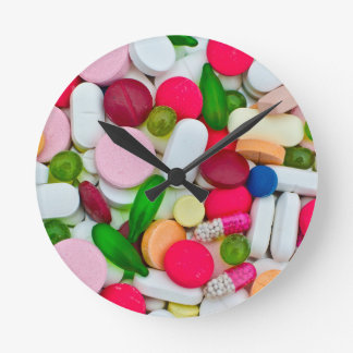 Colorful pills custom product round clock