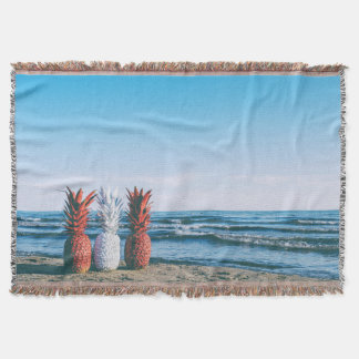 Colorful Pineapples on the Beach Throw Blanket