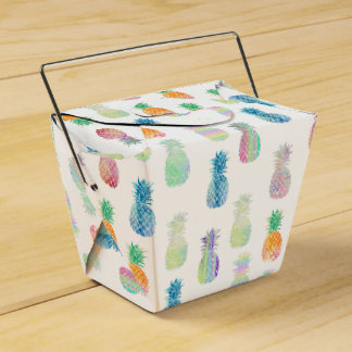 colorful pineapples tropical pattern favour box