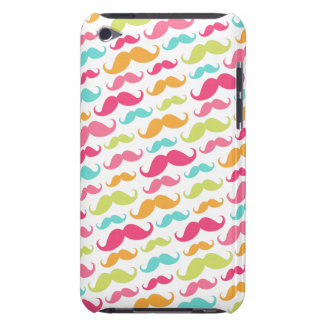 Colorful pink aqua trendy funny mustache pattern Case-Mate iPod touch case