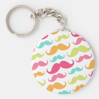 Colorful pink aqua trendy funny mustache pattern key ring