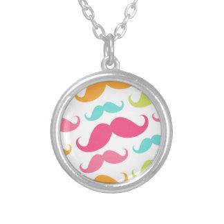 Colorful pink aqua trendy funny mustache pattern pendant