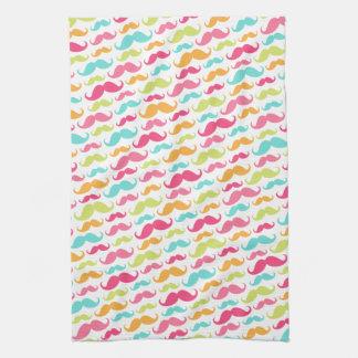 Colorful pink aqua trendy funny mustache pattern tea towel