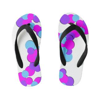 Colorful Pink Blue Dots - Kids Flip Flops