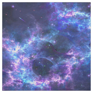 Colorful pink blue galaxy nebula pattern fabric