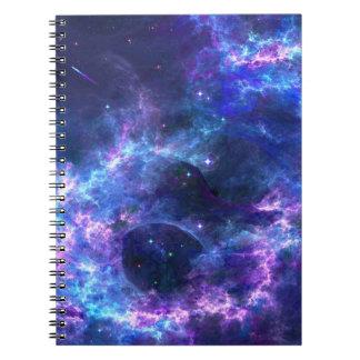Colorful pink blue galaxy nebula pattern notebook