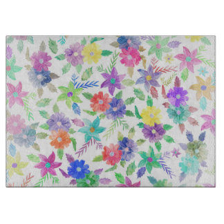 Colorful pink blue green watercolor flowers cutting board