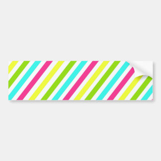 Colorful Pink Blue Green Yellow Neon Stripes Bumper Sticker