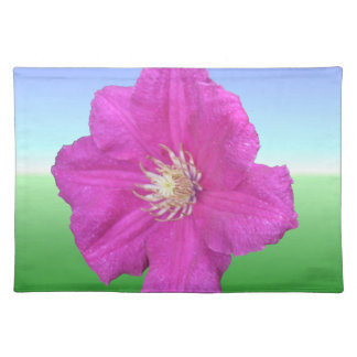 Colorful Pink Clematis Flower Place Mat