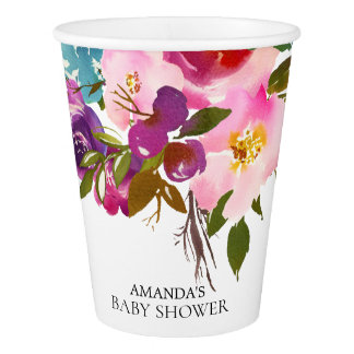 Colorful Pink Flowers Bridal Shower Paper Cup