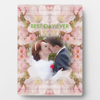 Colorful pink Flowers - Roses, Kiss Wedding, Plaque