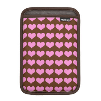 Colorful Pink Hearts on Chocolate Brown Background iPad Mini Sleeve