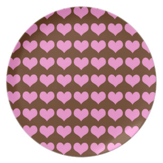 Colorful Pink Hearts on Chocolate Brown Background Plate