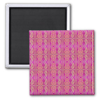 Colorful Pink Paisley Striped Magnet