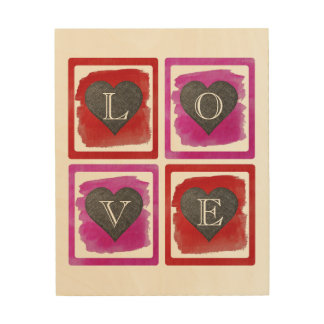 Colorful Pink Red Framed Ink Crosshatched Hearts Wood Print