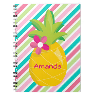 Colorful Pink Stripes Yellow Pineapple Notebooks