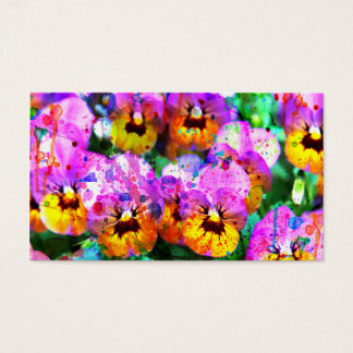 Colorful pink teal  watercolor splatters pansy business card