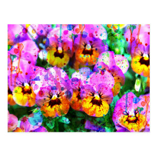Colorful pink teal  watercolor splatters pansy postcard
