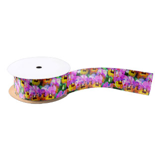 Colorful pink teal  watercolor splatters pansy satin ribbon