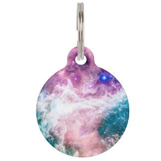 Colorful pink turquoise galaxy modern nebula pet ID tag