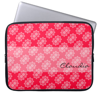 Colorful Pink White Lotus Pattern Laptop Sleeve