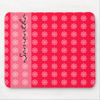 Colorful Pink White Lotus Pattern Mouse Pad