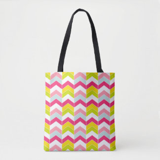Colorful Pink ZigZag Chevron Pattern Tote Bag