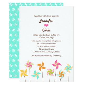 Colorful Pinwheel Themed Wedding Card