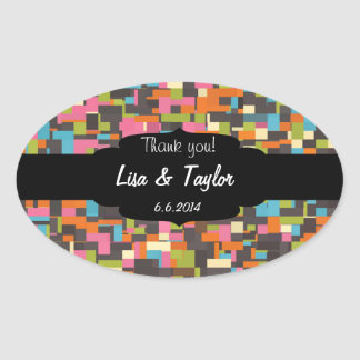 Colorful pixels oval sticker