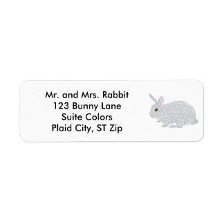 Colorful Plaid Bunny Rabbit Address Labels