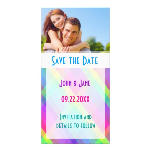 """Colorful Plaid/photo  """"Save the Date"""" Photo Greeting Card"""