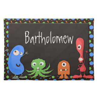 Colorful Playful Monsters Boys Placemat