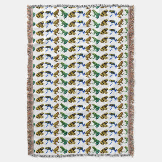 Colorful Poison Arrow Frogs Throw Blanket