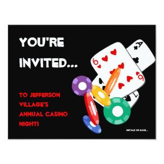 Colorful Poker Chips Vegas Casino Night Invitation