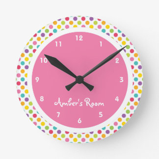 Colorful Polka Dot Girl's Bedroom Round Clock