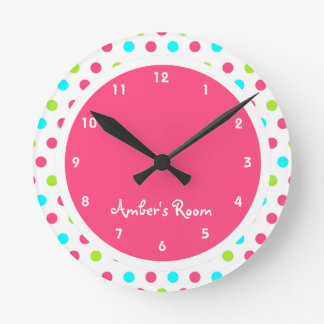 Colorful Polka Dot Kid's Bedroom Round Clock