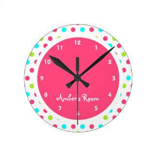 Colorful Polka Dot Kid's Bedroom Wallclocks