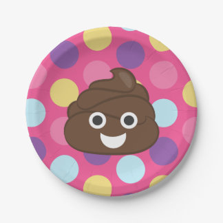 Colorful Polka Dot Poo Emoji Party Plates