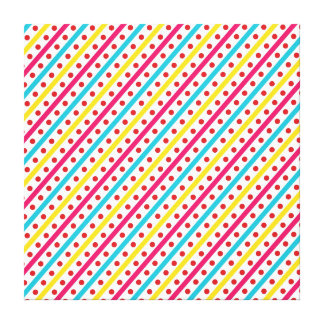 Colorful Polka Dots and Diagonal Stripes Pattern Stretched Canvas Print