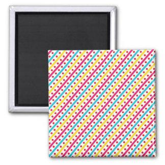 Colorful Polka Dots and Diagonal Stripes Pattern Refrigerator Magnets