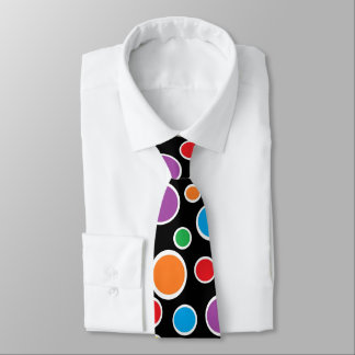 Colorful Polka Dots Black Tie
