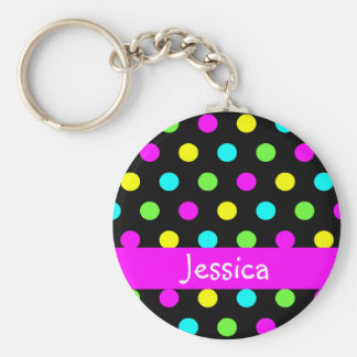 Colorful Polka Dots - Girly Name Keychain