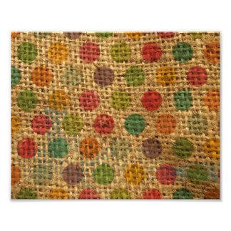 Colorful Polka Dots Grunge Fabric Burlap Texture Photo Art