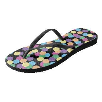 Colorful Polka-Dots on Black Flip Flops