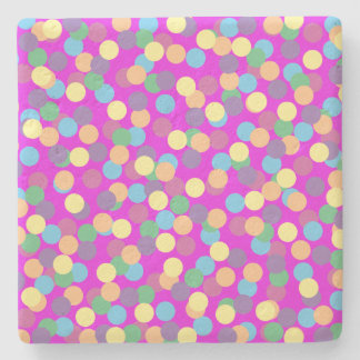 Colorful Polka Dots on Purple Stone Coaster