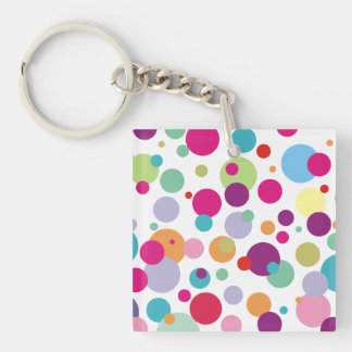 Colorful Polka Dots Pattern Double-Sided Square Acrylic Key Ring